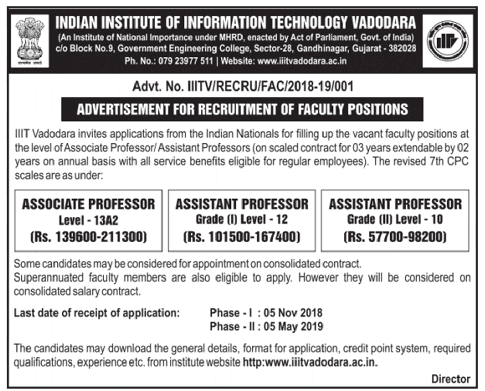 IIIT Vadodara is recruiting Faculty Positions ! Apply now