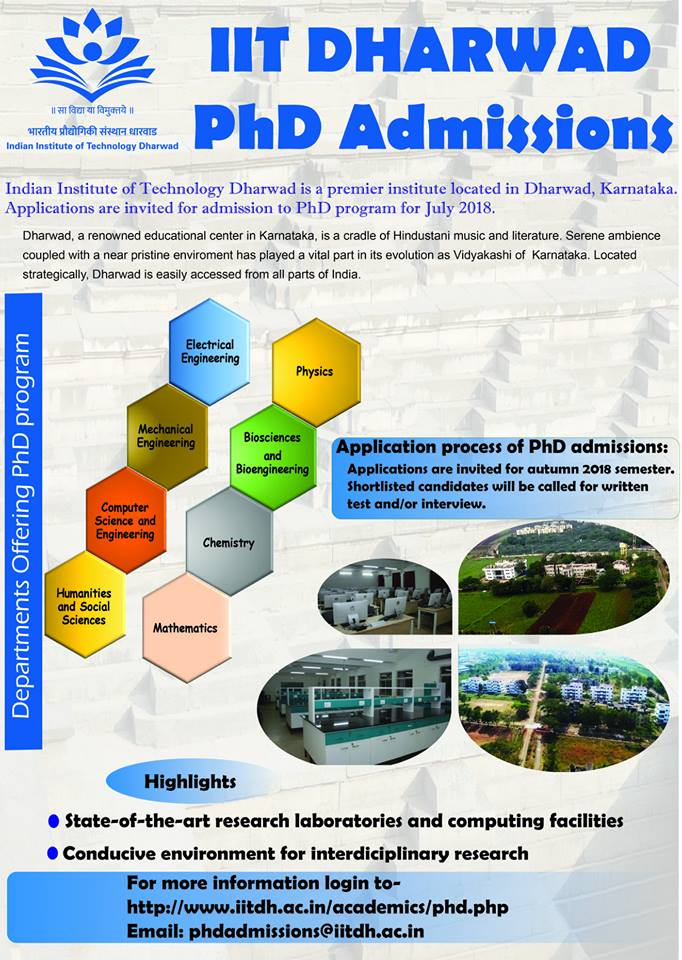 IIT Dharwad: Admission for PhD Program 2018-19 (Spring Semester)