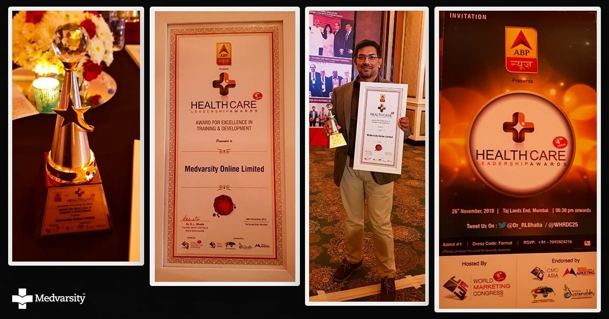 Medvarsity Online Ltd. Awarded for Excellence in Training & Development at ABP Healthcare Leadership Awards 2018