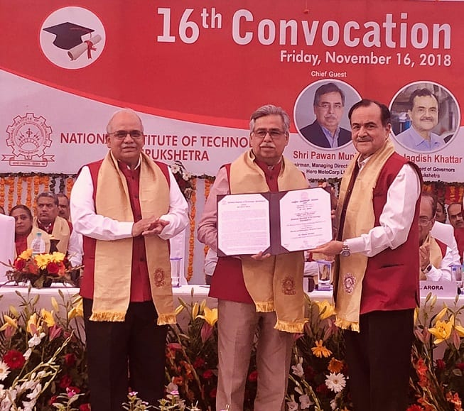Pawan Munjal Conferred With Honorary Doctorate National Institute of Technology, Kurukshetra