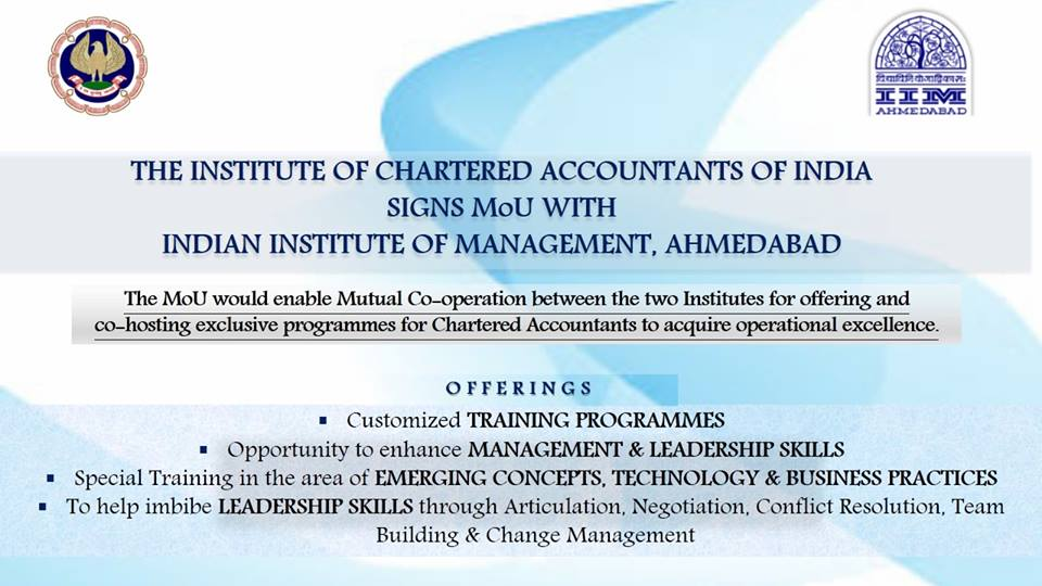 ICAI signs MoU with IIM Ahmedabad