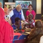 The Prime Minister, Shri Narendra Modi interacting with the Solar Mamas, in Dar es Salaam, Tanzania July 10, 2016.